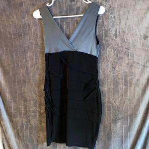Long V Neck Silky Knee Length Dress
